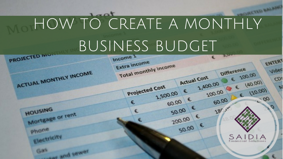 how to create a monthly business budget